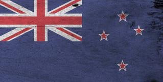 Flaga Nowa Zelandia na drewnianym półkowym tle Grunge Nowa Zelandia flagi tekstura obraz stock
