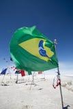 Flaga od różnorodnych krajów w Salar Uyuni, Boliwia Obraz Stock