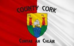 Flaga okręgu administracyjnego korek jest wielkim i południowym okręgiem administracyjnym w Ir royalty ilustracja
