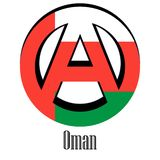 Flaga Oman świat w postaci znaka anarchia ilustracja wektor