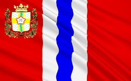 Flaga Omsk Oblast, federacja rosyjska Zdjęcia Stock