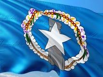 Flaga P??nocne Mariana wyspy macha w wiatrze przeciw g??bokiemu niebieskiemu niebu Wysokiej jako?ci tkanina zdjęcie royalty free