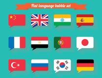 Flaga państowowa dialog bąbla ustalony płaski projekt Ilustracja Wektor