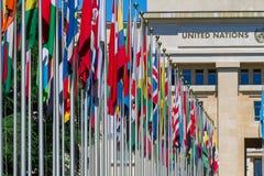 Flaga państowowa przy wejściem w UN biurze przy Genewa, Switzerla Zdjęcia Stock