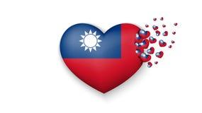Flaga państowowa Tajwan w kierowej ilustracji Z miłością Tajwański kraj Flaga państowowa Tajwańska komarnica za małych sercach da royalty ilustracja