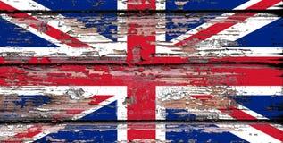 Flaga państowowa Zlany Kindom na drewnianym tle zdjęcia stock