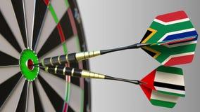 Flaga Południowa Afryka i UAE na strzałkach uderza bullseye cel Międzynarodowy współpraca lub rywalizacja Obraz Royalty Free