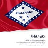 flaga podmuchowy wiatr s u S twierdzi Arkansas falowanie na odosobnionym białym backgrou ilustracja wektor