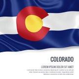 flaga podmuchowy wiatr s u S twierdzi Kolorado falowanie na odosobnionym białym backgrou royalty ilustracja