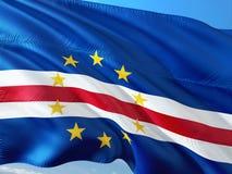 Flaga przylądka Verde falowanie w wiatrze przeciw głębokiemu niebieskiemu niebu Wysokiej jako?ci tkanina obrazy stock