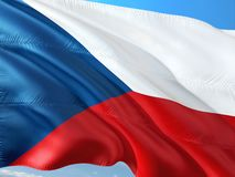Flaga republika czech falowanie w wiatrze przeciw g??bokiemu niebieskiemu niebu Wysokiej jako?ci tkanina fotografia stock