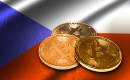 Flaga republika czech i bitcoin Zdjęcia Stock
