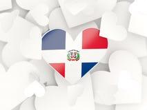 Flaga republika dominikańska, serce kształtował majcherów ilustracja wektor