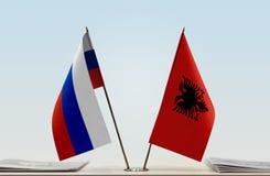 Flaga Rosja i Albania zdjęcia stock
