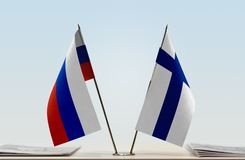 Flaga Rosja i Finlandia zdjęcia royalty free