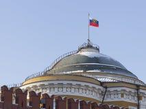 Flaga Rosyjski prezydent na Senackim Kremlowskim pałac Zdjęcie Royalty Free