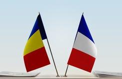 Flaga Rumunia i Francja zdjęcie royalty free