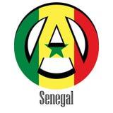 Flaga Senegal świat w postaci znaka anarchia royalty ilustracja