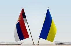 Flaga Serbia i Ukraina obraz stock