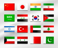 Flaga set Azja 1 Fotografia Stock