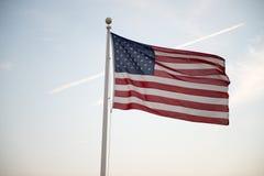 Flaga Stany Zjednoczone Ameryka falowanie przy zmierzchem Obrazy Stock