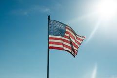 Flaga Stany Zjednoczone Ameryka z sunflare Fotografia Royalty Free