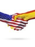 Flaga Stany Zjednoczone i Hiszpania kraje, partnerstwo uścisk dłoni Zdjęcie Stock