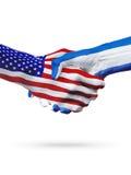 Flaga Stany Zjednoczone i Salwador kraje, partnerstwo uścisk dłoni Zdjęcia Royalty Free
