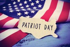 Flaga Stany Zjednoczone i teksta patriota dzień, vignetted Obraz Royalty Free