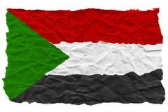 Flaga Sudan zrobił zmięty panwiowy papier poj?cia kryzysu r?ki pieni?dze statku wody wrak ilustracja wektor