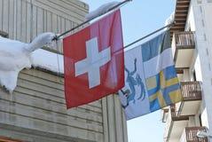 Flaga Szwajcaria i kanton Graubuenden zdjęcia royalty free