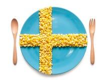 Flaga Szwecja zrobił kukurydzani nasiona Obrazy Stock