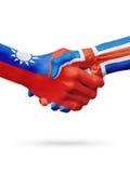 Flaga Tajwan, Iceland kraje, partnerstwo przyjaźni uścisku dłoni pojęcie Fotografia Royalty Free