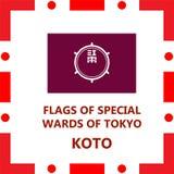 Flaga Tokio dodatek specjalny odgania Koto royalty ilustracja