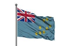 Flaga Tuvalu falowanie w wiatrze, odosobniony biały tło zdjęcie stock