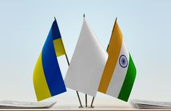 Flaga Ukraina i India obraz stock