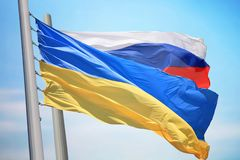 Flaga Ukraina I Rosja obraz royalty free