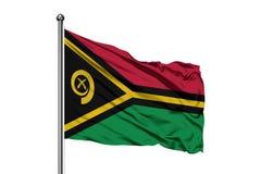 Flaga Vanuatu falowanie w wiatrze, odosobniony biały tło Vanuatuan flaga obraz stock