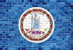 Flaga Virginia na ściana z cegieł Obrazy Stock