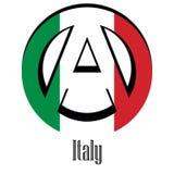 Flaga Włochy świat w postaci znaka anarchia ilustracja wektor