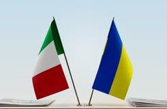 Flaga Włochy i Ukraina obrazy royalty free