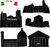 Flaga Włochy z architektonicznymi zabytkami Izolujący przedmioty historyczni budynki Architektoniczni zabytki Włochy na biali pół ilustracji