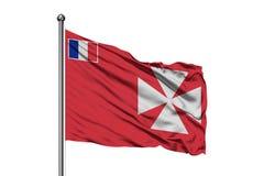Flaga Wallis i Futuna falowanie w wiatrze, odosobniony biały tło obraz stock