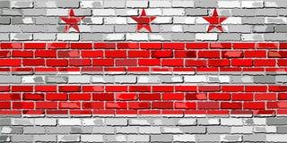 Flaga Waszyngton, d C Na ściana z cegieł Obrazy Stock