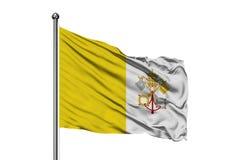 Flaga watykanu falowanie w wiatrze, odosobniony biały tło zdjęcia royalty free