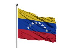 Flaga Wenezuela falowanie w wiatrze, odosobniony biały tło wenezuelczyk bandery obraz royalty free