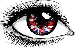 Flaga Wielki Brytania w pięknej samiec lub żeńskim oku Seksowna zdziwiona kobieta z otwartym usta Kolorowy wektor ilustracji