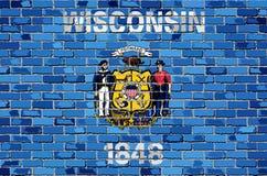 Flaga Wisconsin na ściana z cegieł Obraz Royalty Free