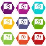 Flaga z światowej planety ikony koloru ustalonym sześciobokiem Fotografia Royalty Free