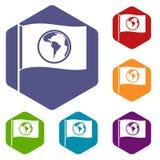 Flaga z światowymi planet ikonami ustawia sześciokąt Zdjęcia Royalty Free